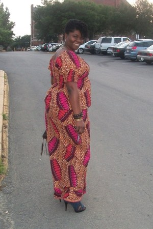 hot pink african print unknown dress