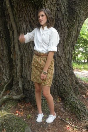 vintage blouse - handmade skirt - vintage Coach belt - Keds shoes