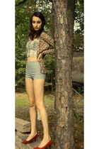 dark brown leopard print cardigan - sky blue shorts - brick red heels
