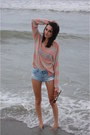 Pink-striped-target-sweater-denim-cuttoff-american-eagle-outfitters-shorts