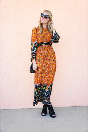 orange thrifted vintage dress - black mia shoes shoes - black HoH1960 sunglasses