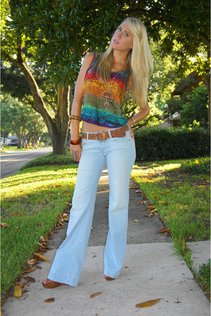 sky blue Paige Premium jeans - tawny Cynthia Vincent for Target wedges - red thr