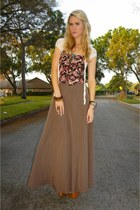 bubble gum corset floral Forever 21 top - brown maxi skirt Forever 21 skirt - ta