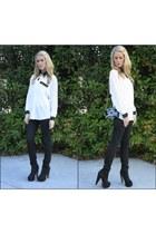f21 boots - skinny black joes jeans - vintage shirt - black patent vintage bag