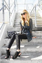black rag & bone jeans - black mia shoes shoes - black Vintage YSL bag