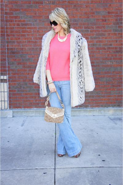 faux fur vintage coat - bell-bottoms dittos jeans - JCrew sweater
