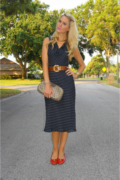 navy Ralph Lauren dress - light brown Gucci bag - red Salvatore Ferragamo flats