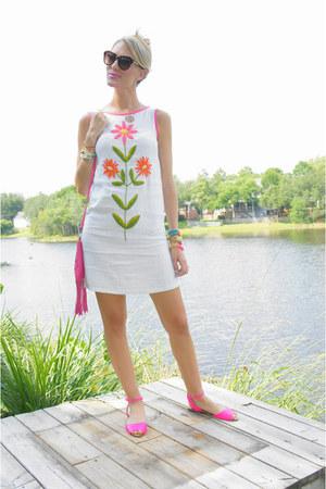 hot pink Zara sandals - white RileyBella123 dress
