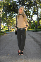 black Zara blouse - camel cable-knit Gap sweater - black vintage Hermes bag