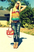 navy f21 jeans - red clear tory burch bag - anne klein vintage from Ebay sunglas