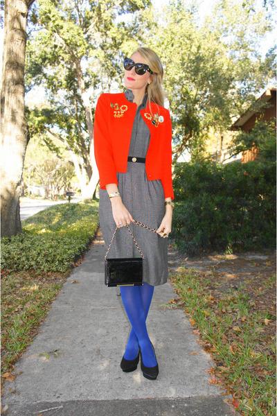 blue Target tights - heather gray vintage dress