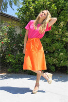 hot pink silk thrifted vintage top - orange wrap skirt thrifted vintage skirt -
