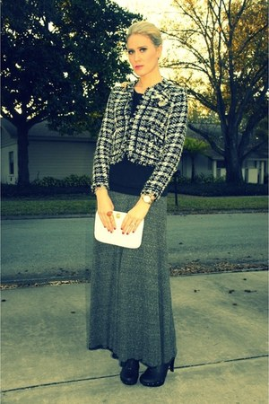 thrifted vintage blazer - vintage bag - maxi Zara skirt - nastygal clogs