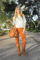 burnt orange Raven Denim jeans - brown leather boots Gianni Binni boots