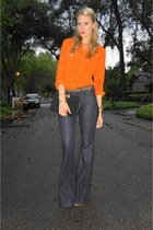 Orange Blouse + Bell Bottoms.