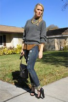 navy f21 jeans - gray thrifted vintage sweater - silk leopard thrifted vintage s
