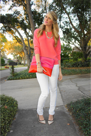eggshell Ivanka Trump heels - white Kill City jeans - salmon JCrew sweater