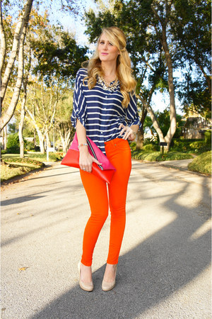 navy Old Navy top - carrot orange Robins Jean jeans