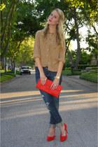 navy Forever 21 jeans - bronze thrifted vintage shirt - red thrifted vintage bag
