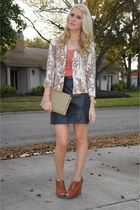 tapestry thrifted vintage jacket - coral Forever 21 shirt - camel clutch thrifte