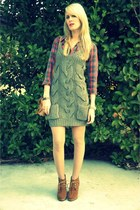 Forever 21 shirt - suede Steve Madden boots - wool cable knit Forever 21 dress