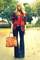 bell-bottom 7 for all mankind jeans - navajo vintage blazer - red cotton aa shir