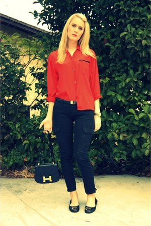 vintage shirt - Hermes bag - revas tory burch flats - f21 pants - Michael Kors w