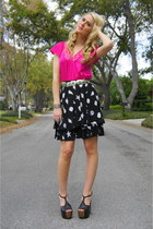 black thrifted vintage skirt - hot pink thrifted vintage blouse - black dani pla