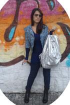 sky blue Las Lolitas jacket - silver Osklen bag - navy Zara jumper