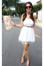 white Buenos Aires Local Shop dress - peach Accessorize bag - gold c&a belt