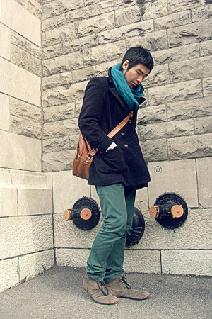teal BDG jeans - dark khaki Diesel boots