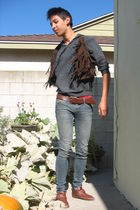 gray Forever 21 sweater - brown Forever 21 vest - blue Forever 21 jeans - brown