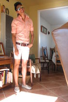 Express shirt - brown Target belt - white shorts - beige Urban Outfitters shoes