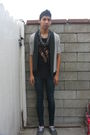 Black-diy-t-shirt-gray-cardigan-silver-macys-necklace-blue-forever-21-jean