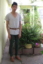 white t-shirt - brown belt - green Forever 21 pants - brown made by elves boots