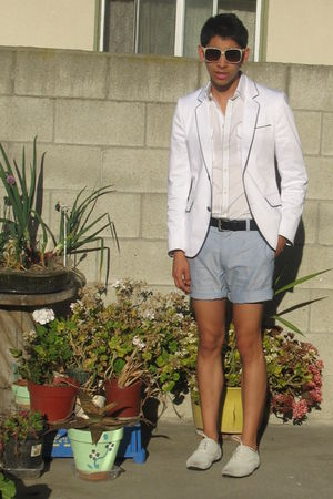 white H&amp;M blazer - white Express shirt - blue H&amp;M shorts - white shoes