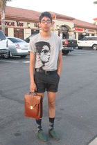 gray Heritage 1981 t-shirt - green oxfords shoes - blue Target socks