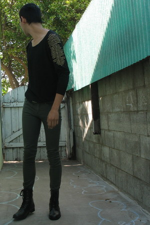 black Forever 21 top - dark green thrifted pants - black Forever 21 boots