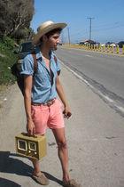 Coral Shorts shorts - beige Swapmeet hat - blue H&M shirt - beige Radio