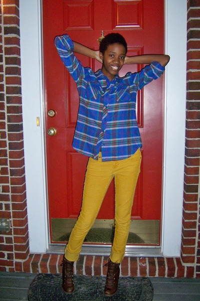 yellow Forever 21 pants - blue Urban Outfitters shirt - brown Steve Madden boots
