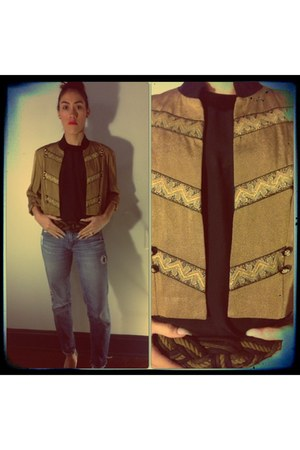 black silk satin escada blouse - DJ&CO jacket - knotted rope belt