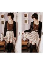 beige vintage skirt - gray lindex blazer - brown Terranova shirt - gray seppl st