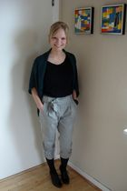 black H&M t-shirt - green Vila cardigan - gray asos pants - black stockings - bl