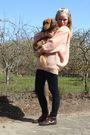Pink-vintage-sweater-brown-mamas-old-boots-black-vero-moda-leggings-black-