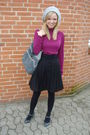 Purple-h-m-blouse-black-h-m-skirt-gray-h-m-hat-gray-dorothy-perkins-purse-