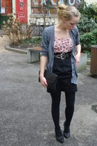 black leather Secondhand purse - gray cardigan - black highwasted skirt - black
