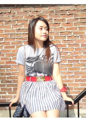 Forever 21 skirt - red Forever 21 belt - gray Forever 21 t-shirt - red modcloth