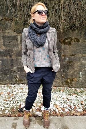 light brown wool JCrew blazer - light blue floral Gap blouse - navy Uniqlo pants
