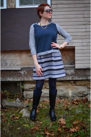 black born boots - navy striped madewell dress