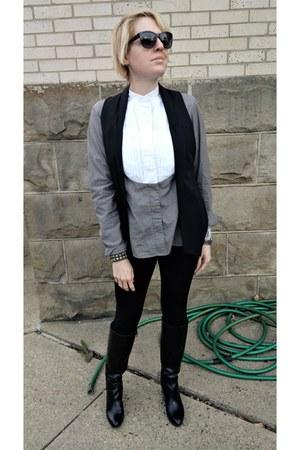 black Zara leggings - charcoal gray pleat-front asos shirt - black Zara vest